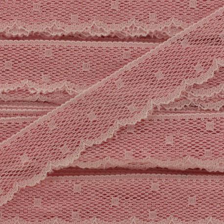 Ribbon Scalloped Lace Point d'esprit - peach pink x 1m