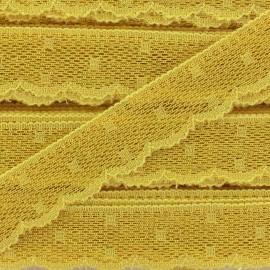 Ribbon Scalloped Lace Point d'esprit - sun yellow x 1m