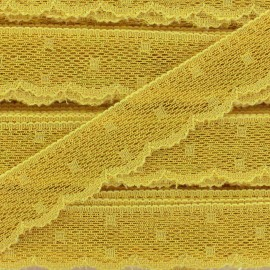 Ruban Dentelle festonnée Point d'esprit - jaune soleil x 1m