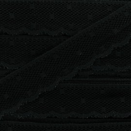 Ribbon Scalloped Lace Point d'esprit - black x 1m