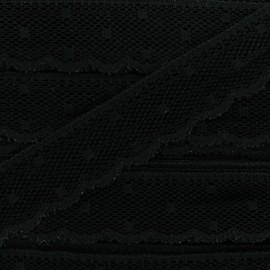 Ribbon Scalloped Lace Point d'esprit - black x 1m