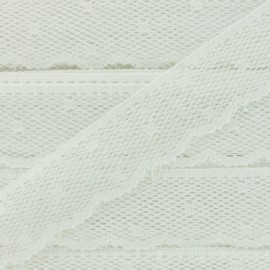 Ribbon Scalloped Lace Point d'esprit - écru white x 1m