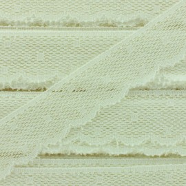 Ribbon Scalloped Lace Point d'esprit - cream white x 1m