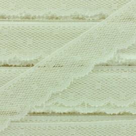 Ruban Dentelle festonnée Point d'esprit - blanc crème x 1m