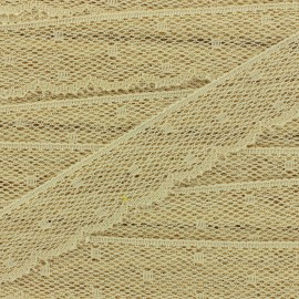 Ribbon Scalloped Lace Point d'esprit - beige x 1m