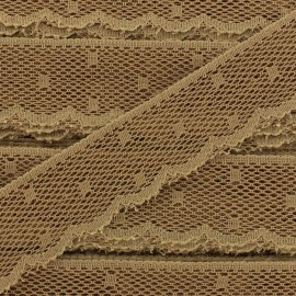 Ribbon Scalloped Lace Point d'esprit - light brown x 1m