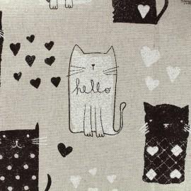 Tissu toile de coton Gattino - noir x 31cm