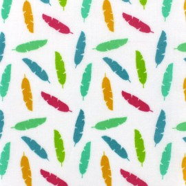 Shiny coated cotton fabric Plumy - multi x 10cm
