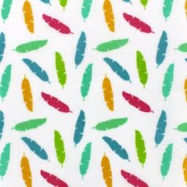 Tissu enduit coton brillant Plumy - multi x 10cm