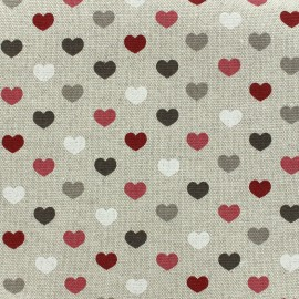 Cotton canvas fabric Valentine - burgundy x 10cm