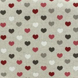 Tissu toile de coton Valentine - bordeaux x 10cm