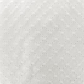 Openwork embroidered cotton fabric Angel - off-white x 10cm
