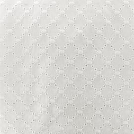 Tissu coton brodé ajouré Angel - blanc cassé x 10cm