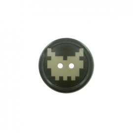 Pixel polyester button - monster