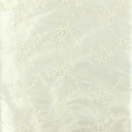 Embroidered silk dupion fabric Astrid - ecru x 10cm