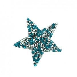 Rhinestones Star Glitter Iron on - turquoise
