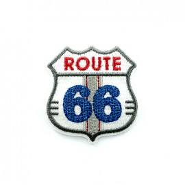 Route 66 embroidered iron-on patch - white
