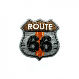 Route 66 embroidered iron-on patch - grey