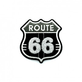 Route 66 embroidered iron-on patch - black