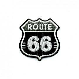 Thermocollant brodé Route 66 - noir