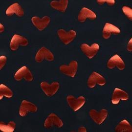 Tissu Jersey La reine de coeurs - bleu nuit/rouge x 10 cm