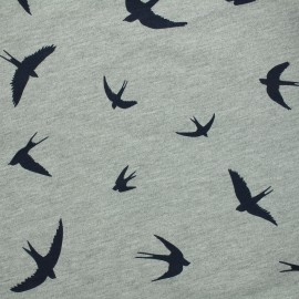 Jersey fabric Flying birds - grey/blue x 10 cm