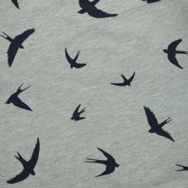 Tissu Jersey Vol d'oiseaux - gris/bleu  x 10 cm