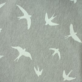 Jersey fabric Flying birds - grey/white x 10 cm