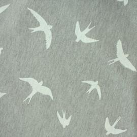 Tissu Jersey Vol d'oiseaux - gris/blanc  x 10 cm