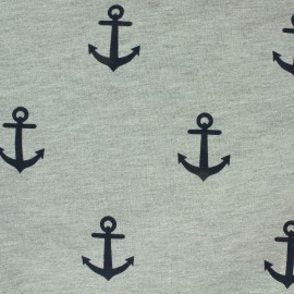 Jersey fabric Anchors - grey/blue x 10 cm