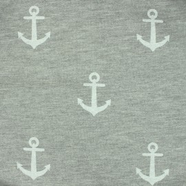 Jersey fabric Anchors - grey/white x 10 cm