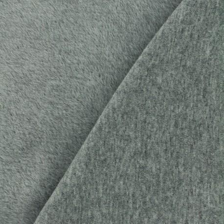 Plain Sweat with minkee reverse side fabric - grey x 10cm