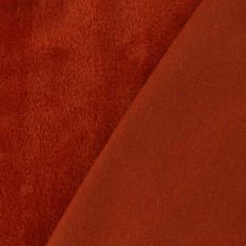♥ Coupon tissu 10 cm X 140 cm ♥ Tissu sweat envers minkee Uni - rouge brique