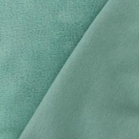 Tissu sweat envers minkee Uni - vert sauge x 10cm