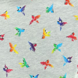 Tissu Jersey Birds - multicolore x 10cm