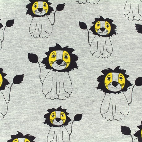 Poppy jersey fabric Sweet Lion - mocked light grey