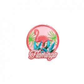 America America embroidered iron-on patch - flamingo