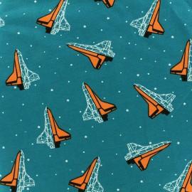 Tissu jersey Poppy Space - canard x 10cm
