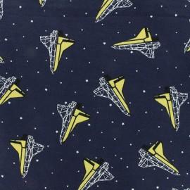 Tissu jersey Poppy Space - bleu nuit x 10cm