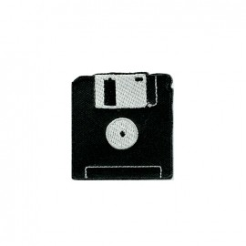 La boum de martine embroidered iron-on patch - black diskette