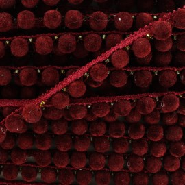 India pompom braid trimming 8 mm - Bordeaux red  x 50cm