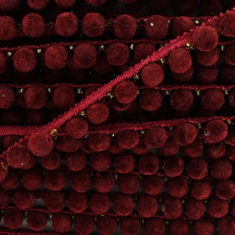 Galon Pompon India 8 mm - rouge bordeaux x 50cm