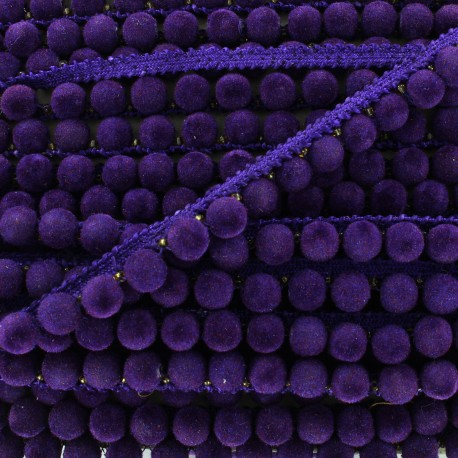 India pompom braid trimming 8 mm - purple x 50cm
