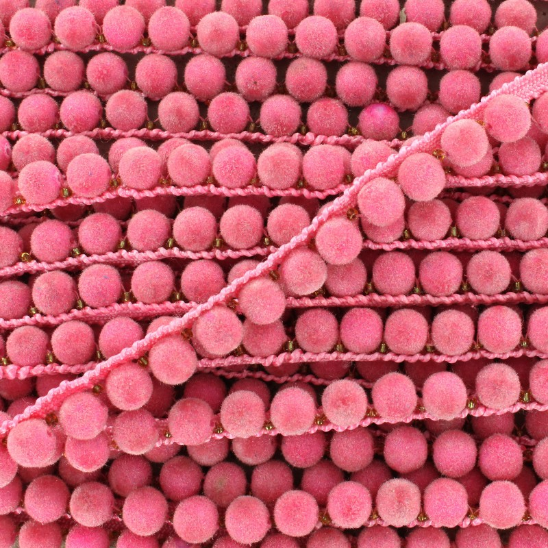 Galon Pompon India 8 mm rose bonbon x 50cm