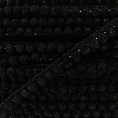 India pompom braid trimming 8 mm - black x 50cm