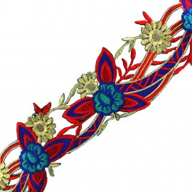 Guipure fleurs India Apala  - rouge x 50cm