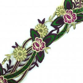 Guipure fleurs India Apala  - violet/vert  x 50cm