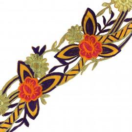 Guipure fleurs India Apala  - jaune/violet x 50cm