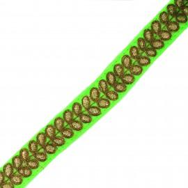 Ruban galon India Aloki - vert fluo x 50cm