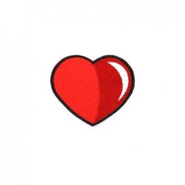 Thermocollant brodé Amour à la plage - coeur rouge